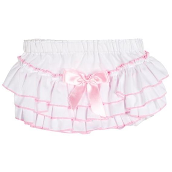 Elegant Baby Ruffled Bloomers 12/18 Month - White/Pink