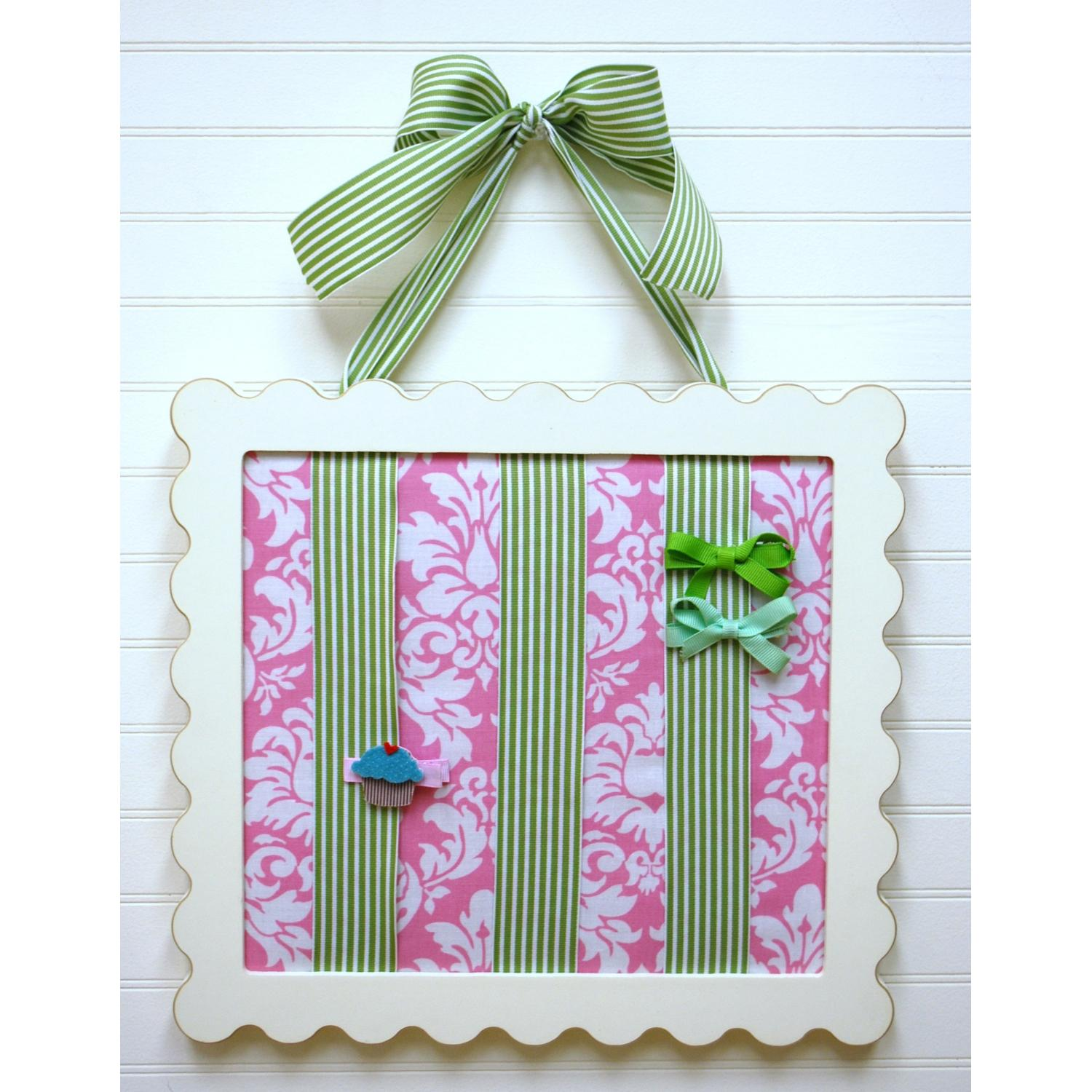 New Arrivals Barrette Holder - Pink Taffy With Green Stripe Ribbon
