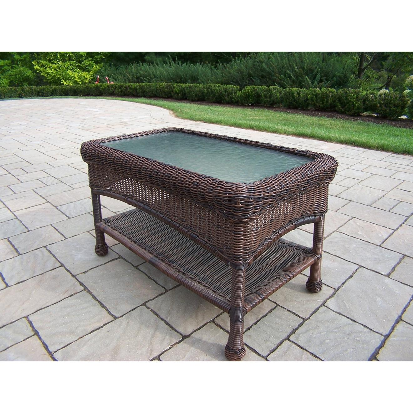 Oakland Living Resin Wicker Patio Coffee Table With Glass Top - Coffee 2612398