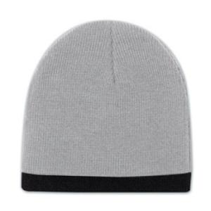 Otto Cap 8 Inch Acrylic Knit Trimmed Beanie - Gray/Black