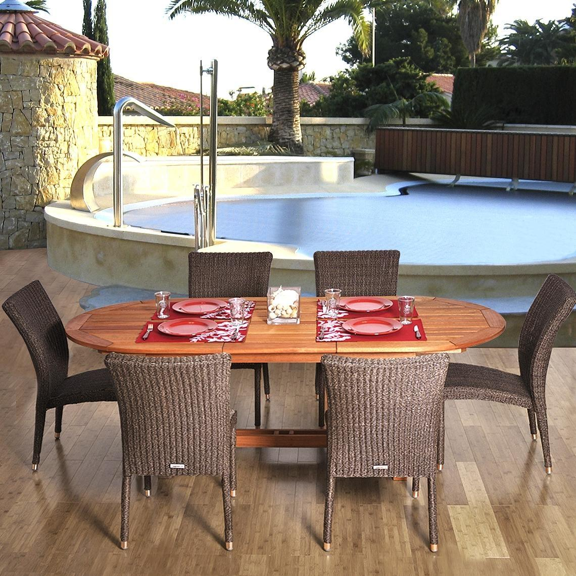 Amazonia Lemans 6-Person Resin Wicker Patio Dining Set With Extension Table And Stacking Chairs 2866256
