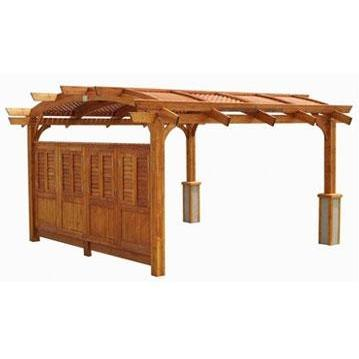 Outdoor GreatRoom Company 12 X 16 Foot Sonoma Arched Wood Pergola In Redwood Stain