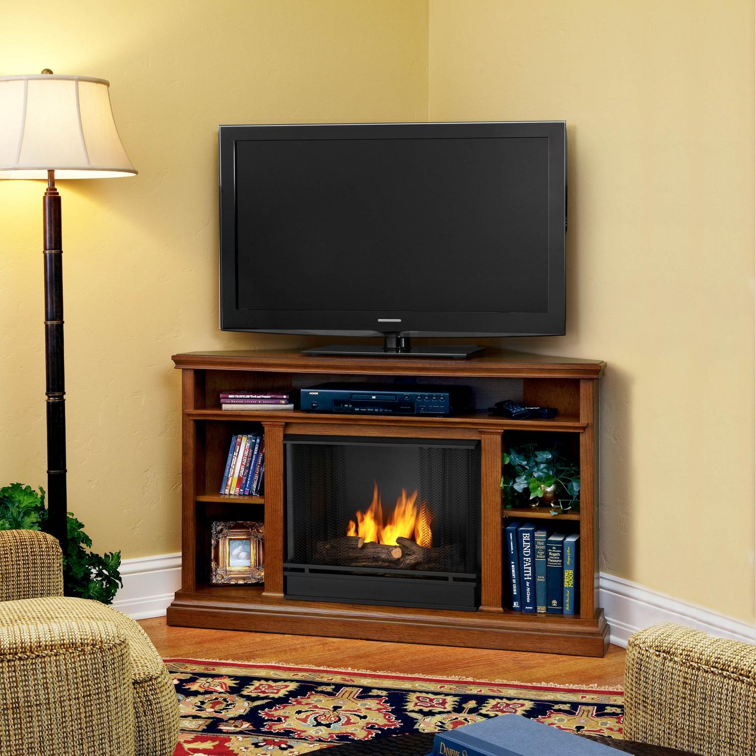 Real Flame Churchill 50-Inch Corner Gel Fireplace - Oak