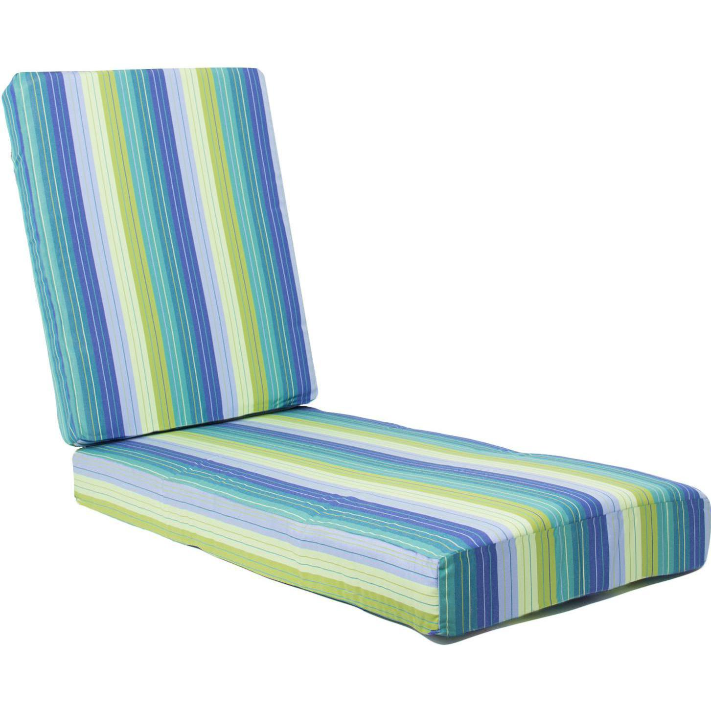 Ultimatepatio.com Extra Long Replacement Chaise Lounge Cushion With Knife Edge - Seville Seaside