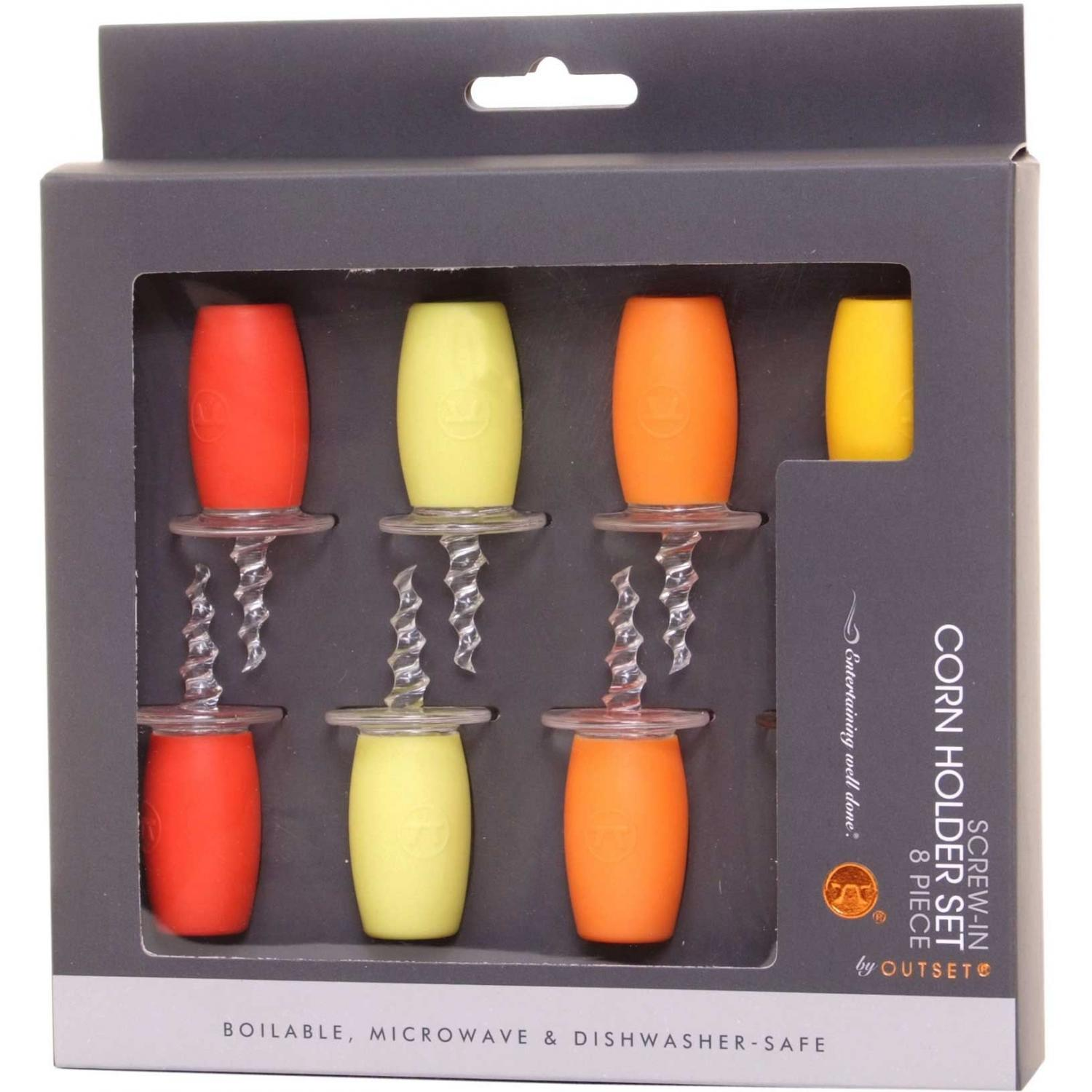 Outset Corn Holders - Assorted Colors - Set Of 8