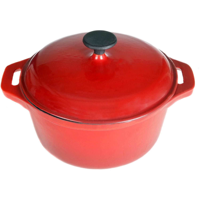 Cajun Cookware Dutch Ovens 5 Quart Enamel Cast Iron Dutch Oven - Red/Black
