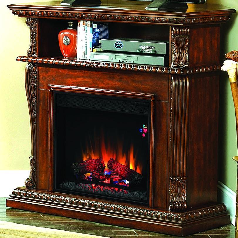 Corinth 42-inch Electric Fireplace Media Console - Burnished Walnut - 23de1447