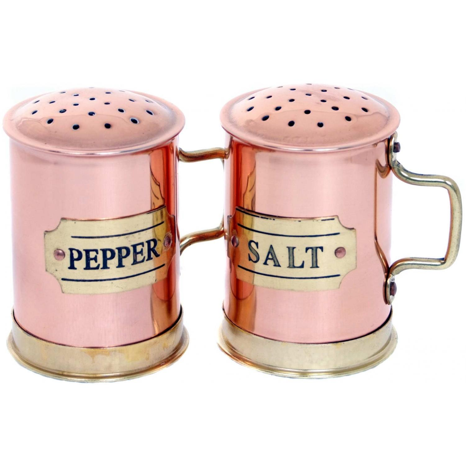 Old Dutch Copper Salt And Pepper Shakers 2.75 Inch