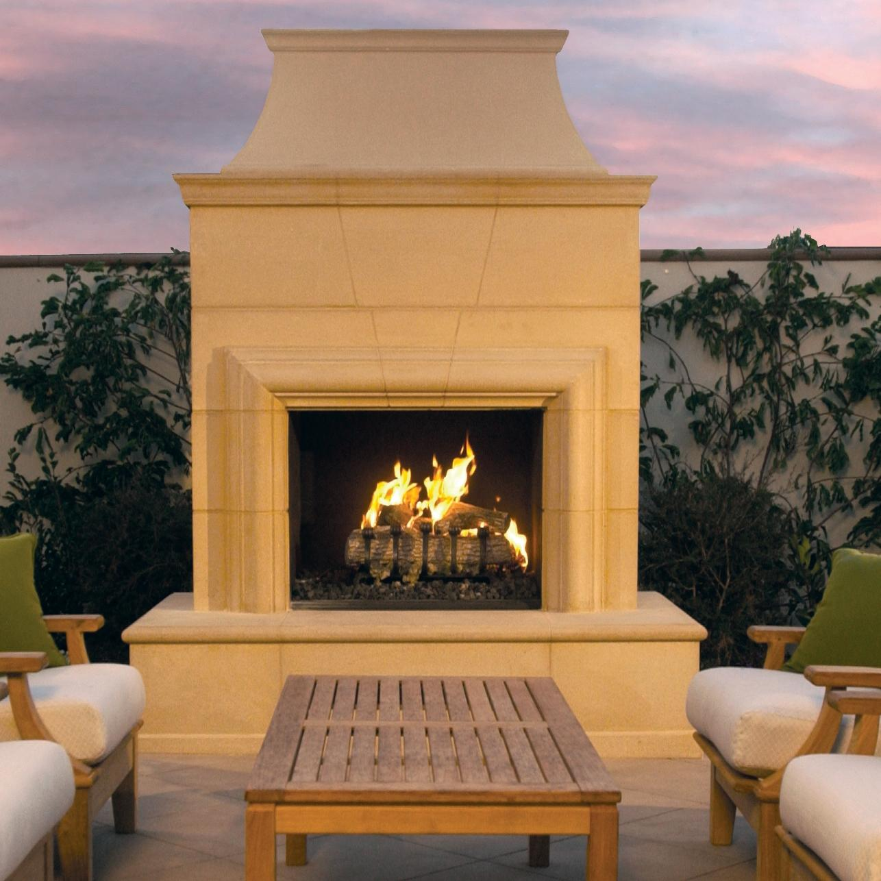 American Fyre Designs Cordova 74-inch Outdoor Natural Gas Fireplace - Cafe Blanco