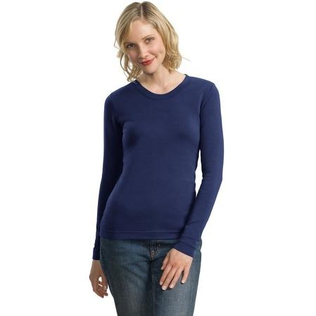 Port Authority Ladies Modern Stretch Cotton Long Sleeve Scoop Neck Shirt Large - Sapphire Blue 2797550