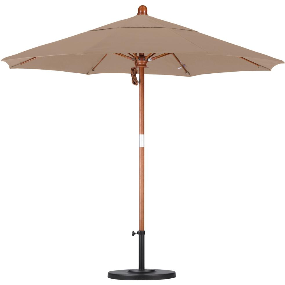 California Umbrella Octagonal 7.5 Ft Hardwood Patio Umbrella With Pulley Lift And Fiberglass Ribs 2909292