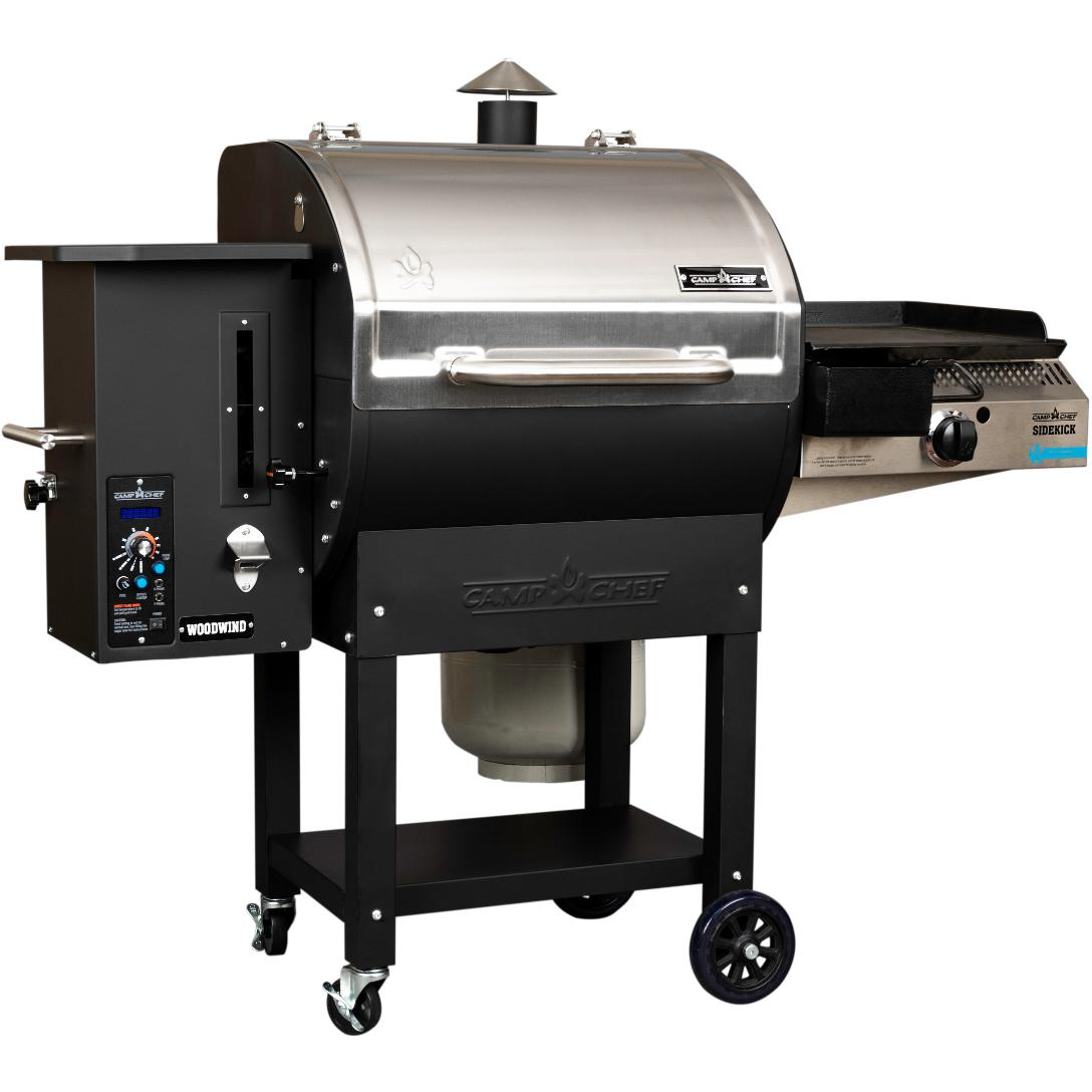 Camp Chef Woodwind SG Wood Pellet Grill With Slide and Grill Technology And Propane Sidekick Burner - PG24SGWWSK