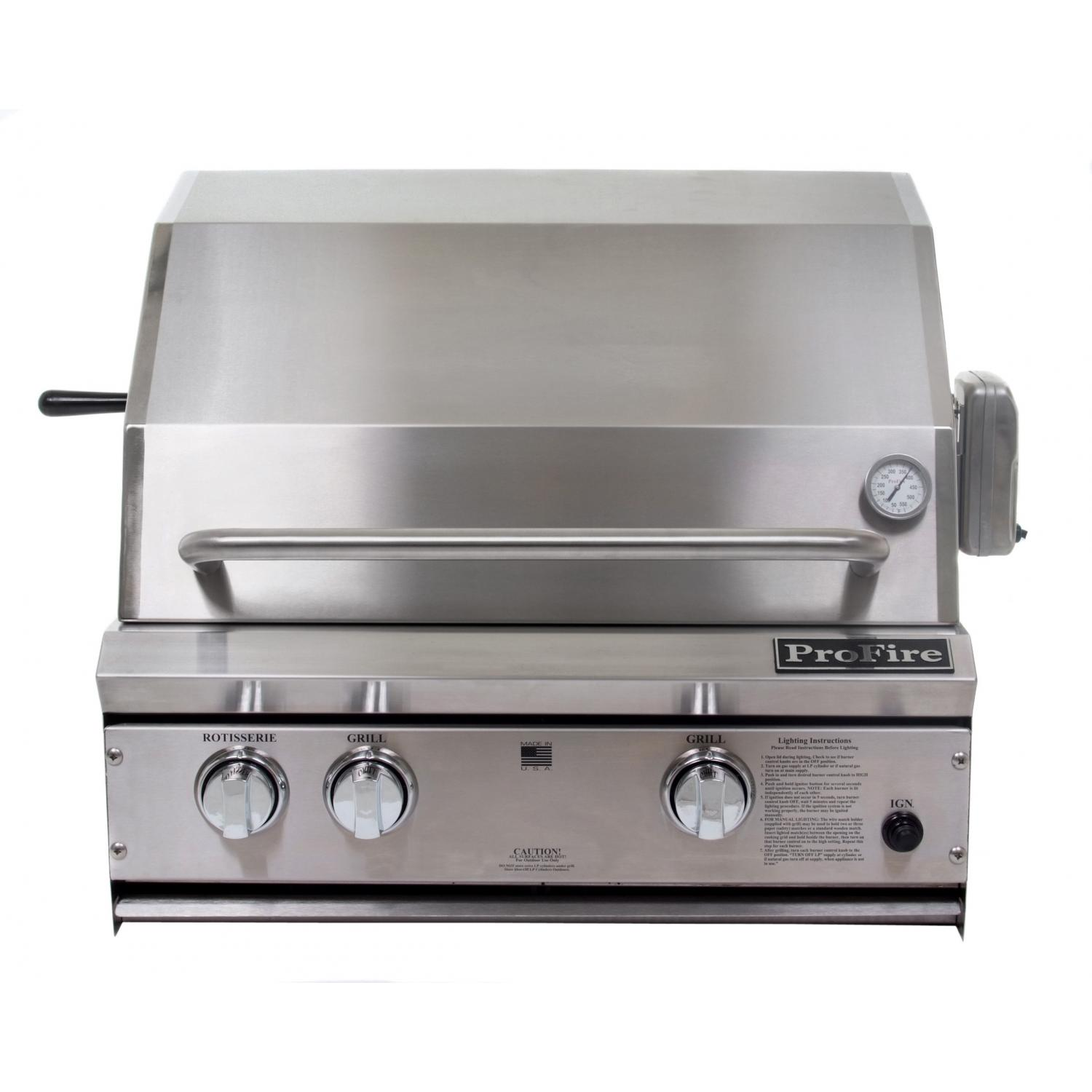 ProFire Professional Series 27 Inch Natural Gas Grill With Rotisserie - Built-In 2542056