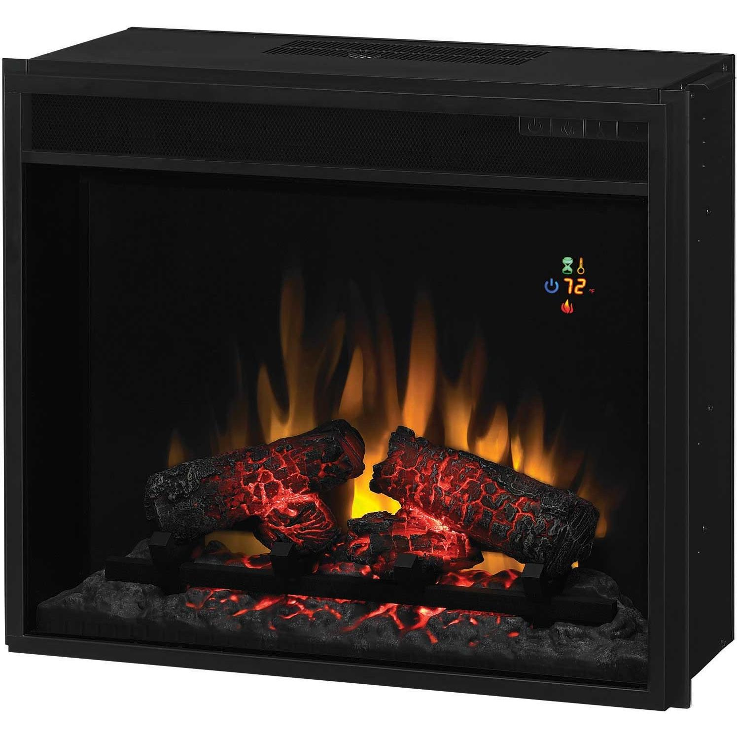 ClassicFlame 23EF022GRA 23 Inch Fixed Front Electric Fireplace Insert With Backlit Display And Remote - Black