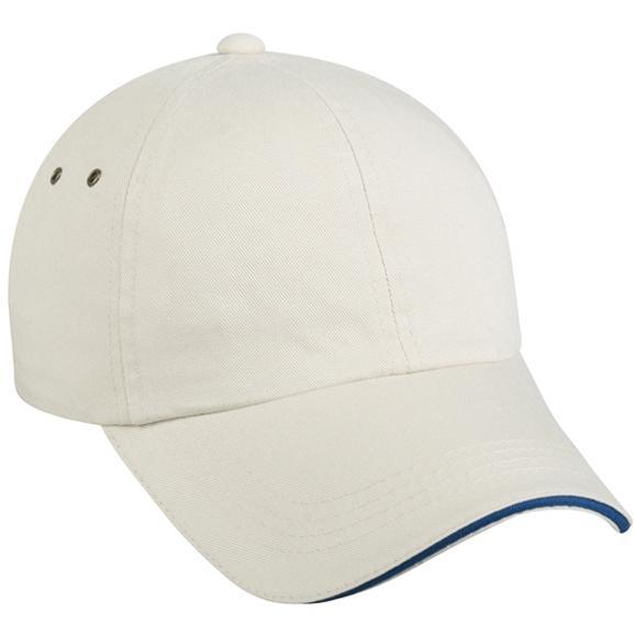 Outdoor Cap Garment Washed Twill Sandwich Visor Cap - Putty / Royal, Discount ID GWT-333-197