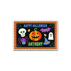 Olive Kids Personalized Laminate Placemat - Halloween Black