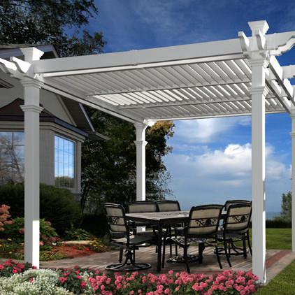 New England Arbors Avalon 10 X 10 Ft Louvered Pergola