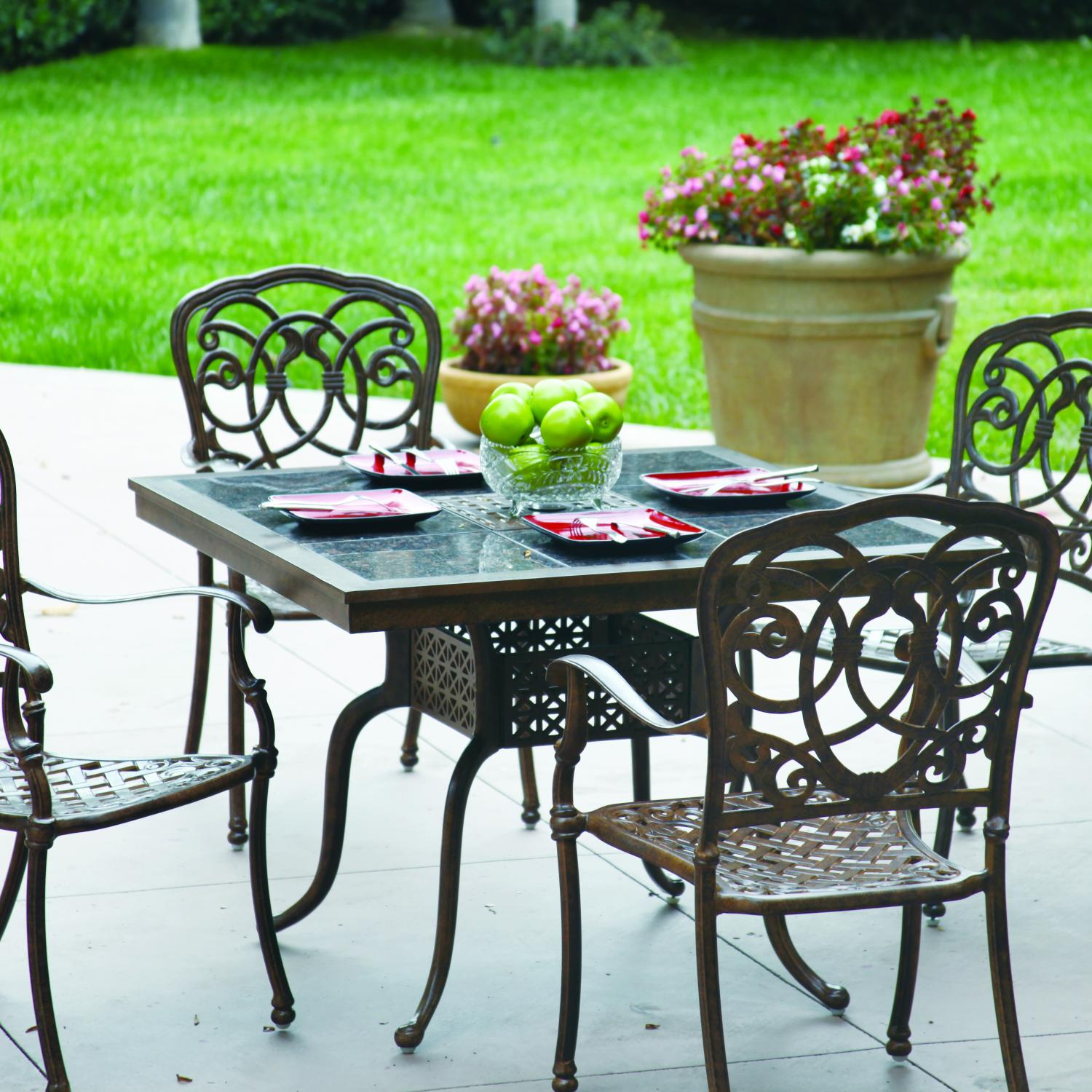 Darlee Florence 4-person Cast Aluminum Patio Dining Set With Granite Top Table - Antique Bronze / Brown Granite Tile at Sears.com
