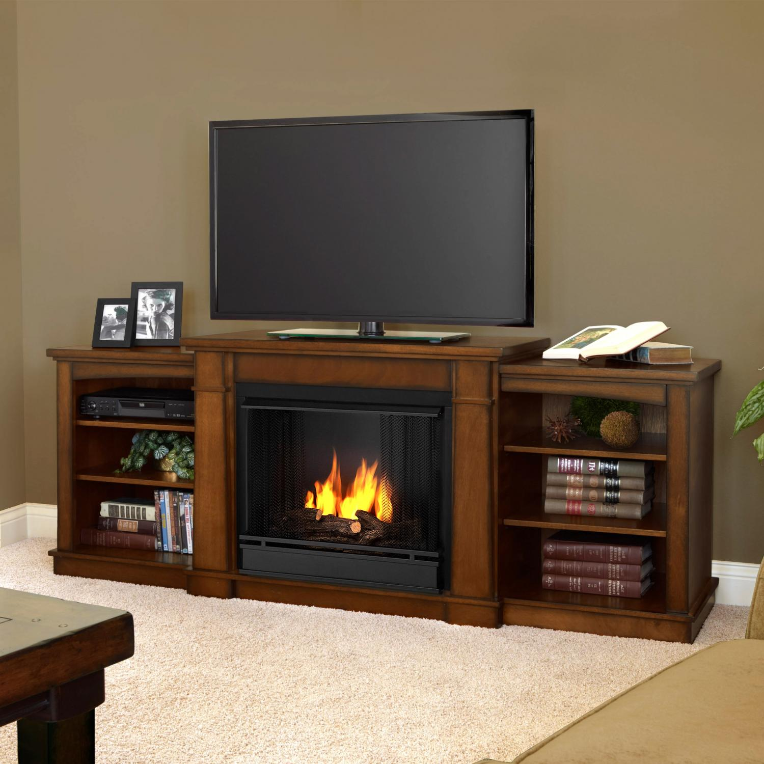 Real Flame Hawthorne 74-Inch Gel Fireplace - Burnished Oak