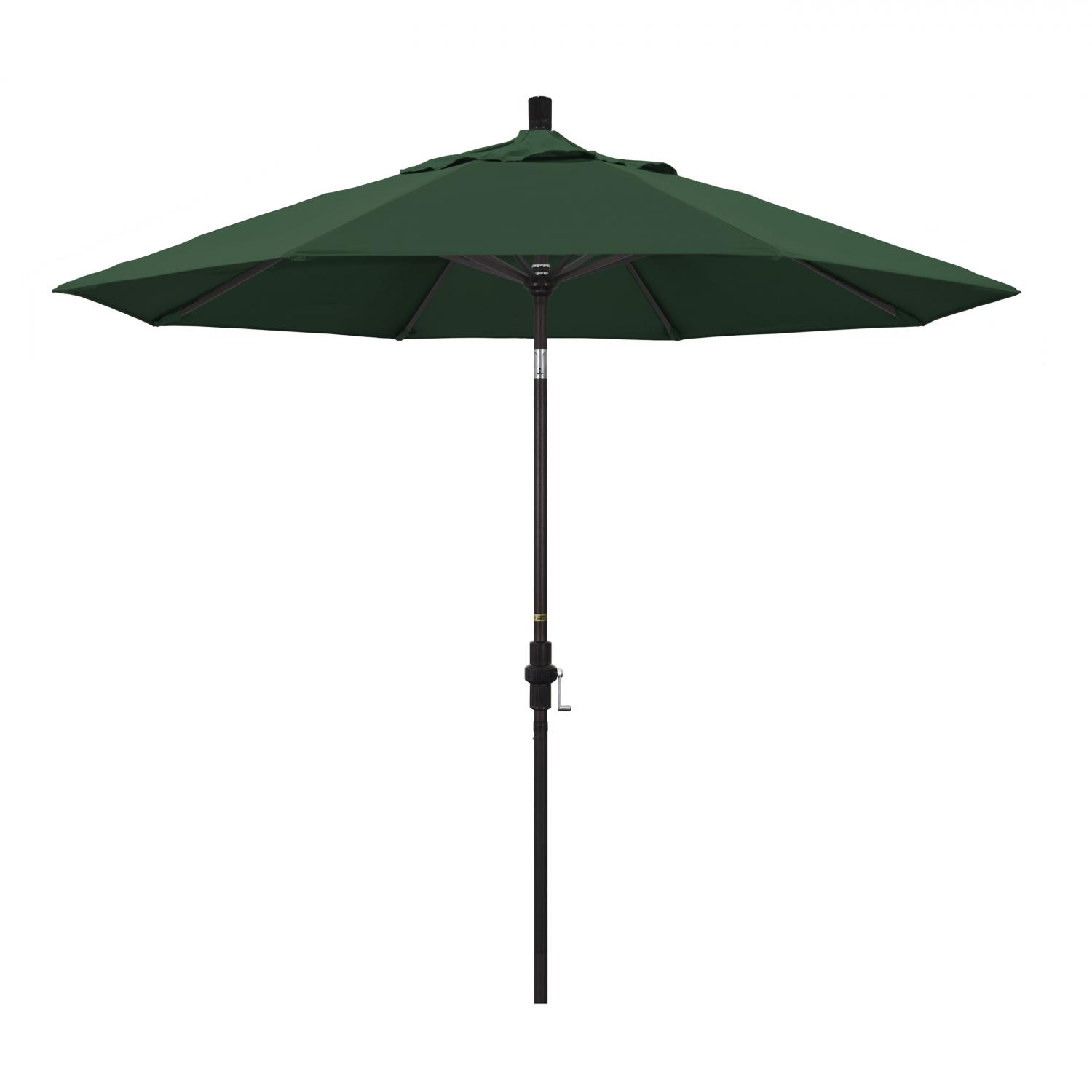 California Umbrella 9 Ft. Octagonal Aluminum Collar Tilt Patio Umbrella W/ Crank Lift & Aluminum Ribs - Bronze Frame / Olefin Hunter Green Canopy