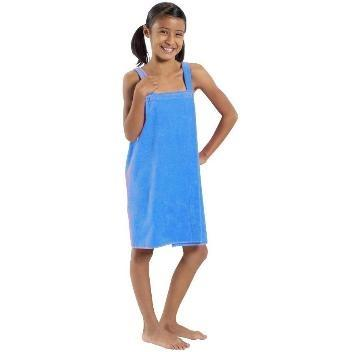 Terry Town Girls Terry Velour Body Wrap Towel Medium - Aqua