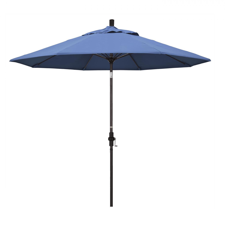 California Umbrella 9 Ft. Octagonal Aluminum Collar Tilt Patio Umbrella W/ Crank Lift & Fiberglass Ribs - Bronze Frame / Frost Blue Canopy