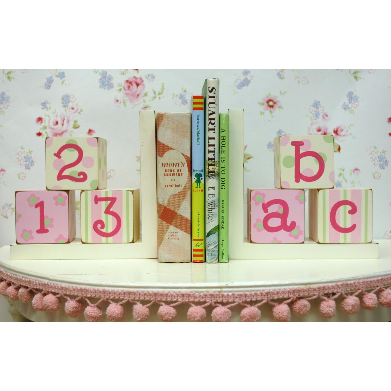 New Arrivals Wooden ABC Block Bookends - Pink/Green