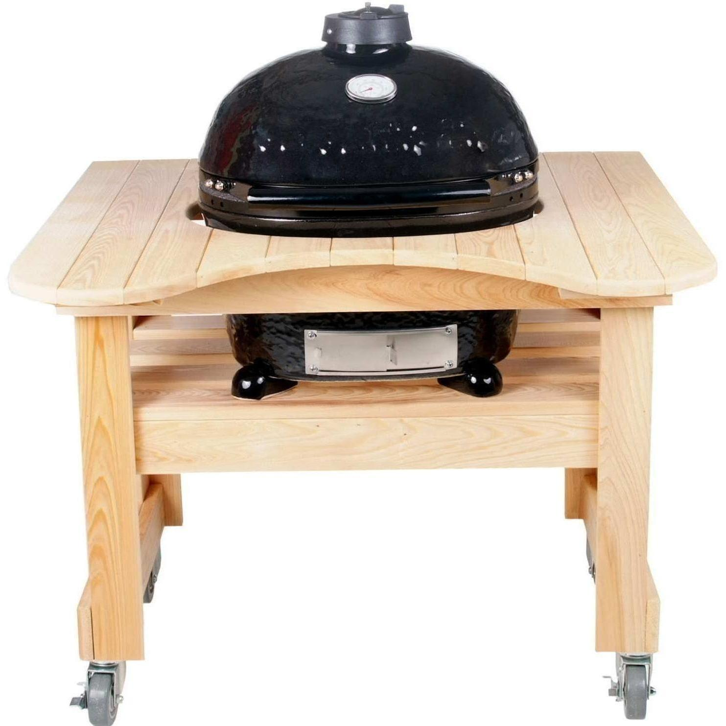 Primo Ceramic Charcoal Smoker Grill On Curved Cypress Table - Oval Junior, Discount ID 774 605