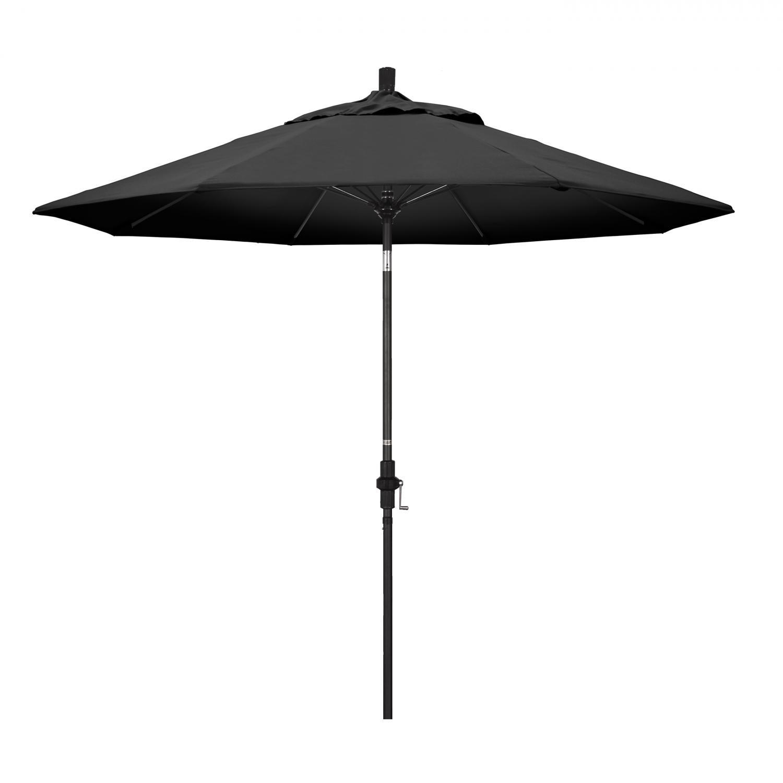 California Umbrella 9 Ft. Octagonal Aluminum Collar Tilt Patio Umbrella W/ Crank Lift & Fiberglass Ribs - Matted Black Frame / Olefin Black Canopy