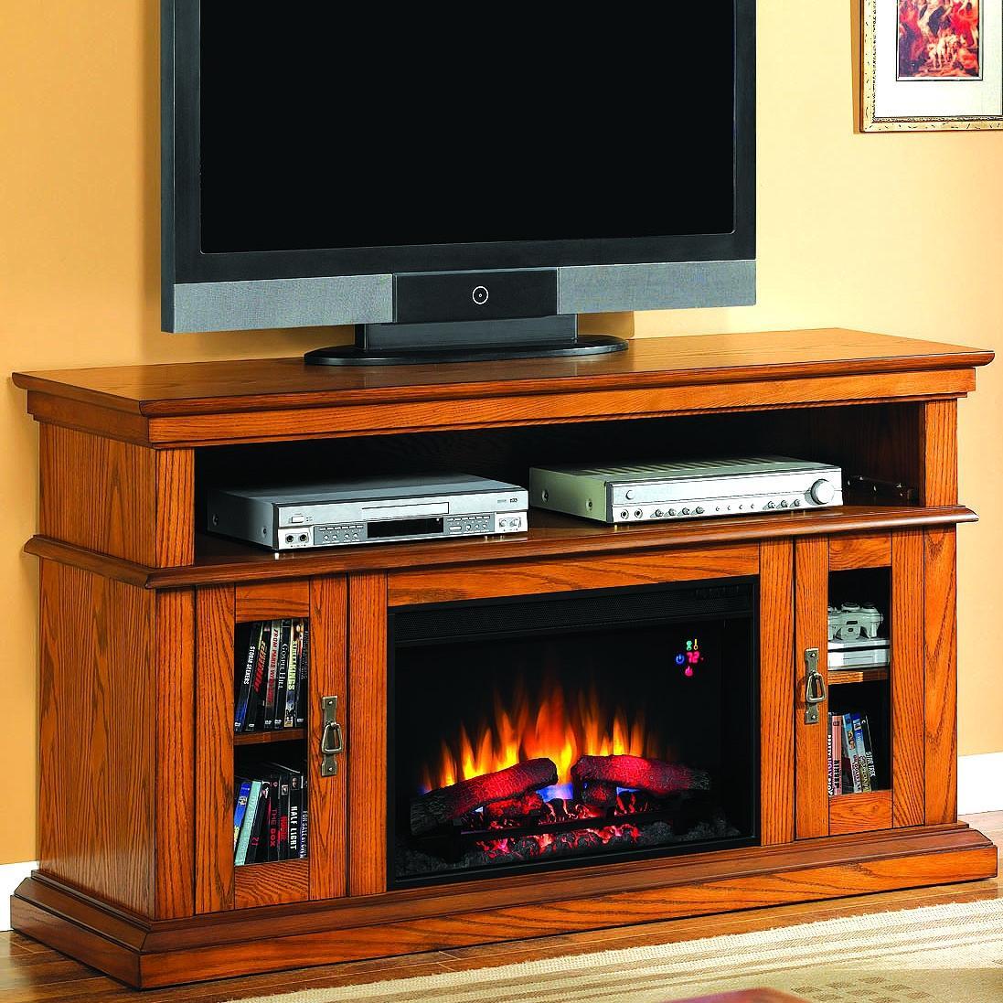 Brookfield 60-inch Electric Fireplace Media Console - Premium Oak - 26mm2209