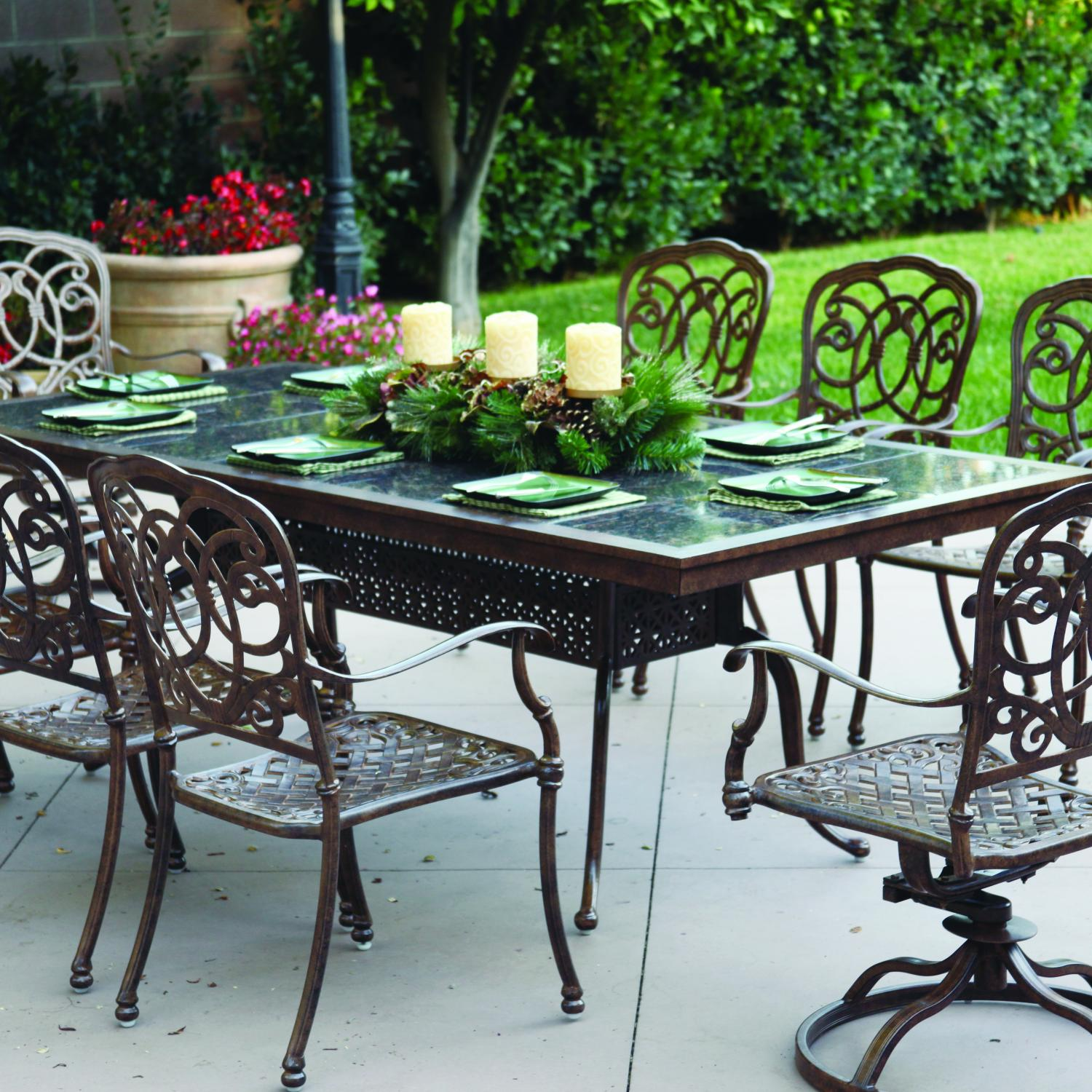 Darlee Florence 8-person Cast Aluminum Patio Dining Set With Granite Top Table - Antique Bronze / Brown Granite Tile at Sears.com