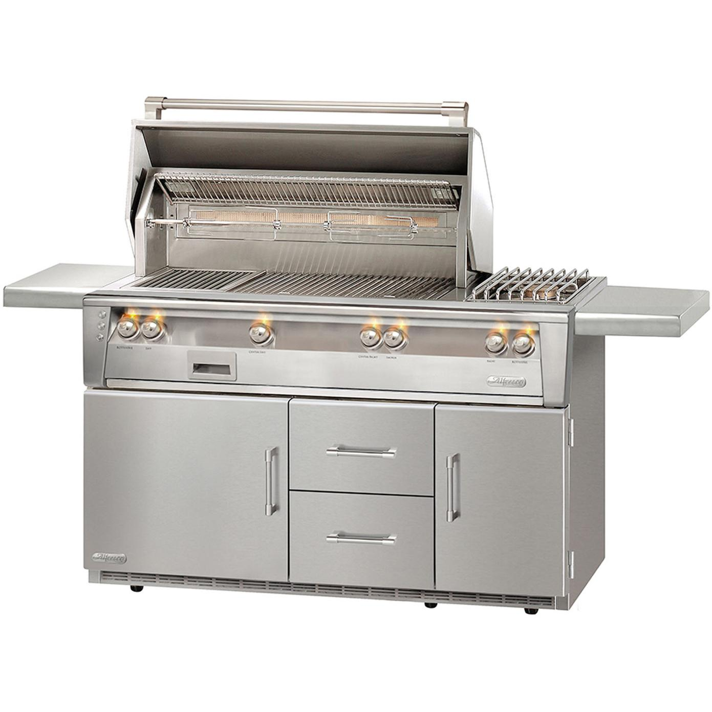 Alfresco LXE 56-Inch Propane Gas Deluxe Grill On Refrigerated Cart With Rotisserie And Side Burner - ALXE-56R-LP 2911934