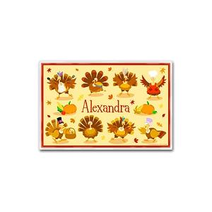 Olive Kids Personalized Laminate Placemat - Turkeys