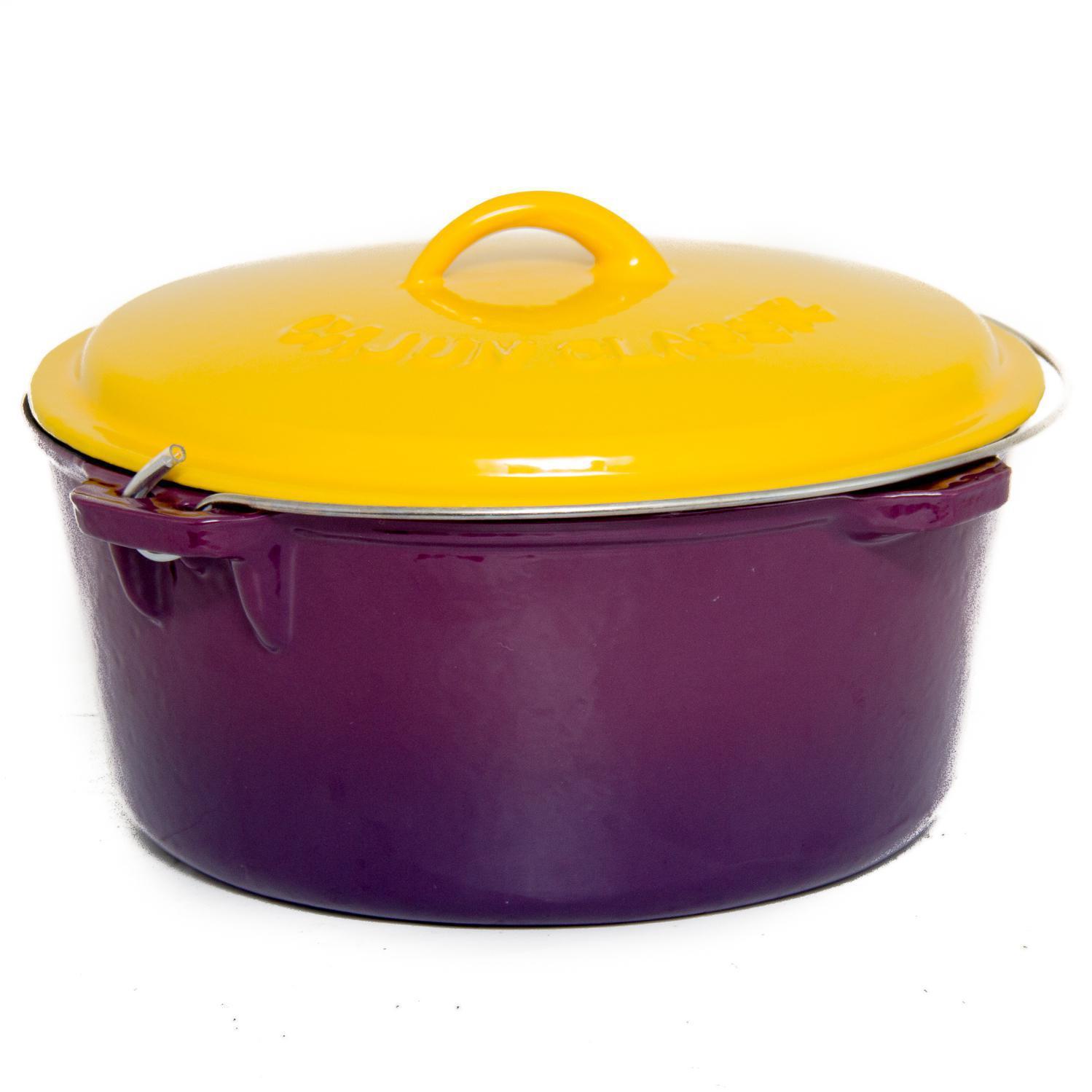 cajun cookware 16 quart enamel cast iron dutch oven purple gold gl10490pg ebay. Black Bedroom Furniture Sets. Home Design Ideas