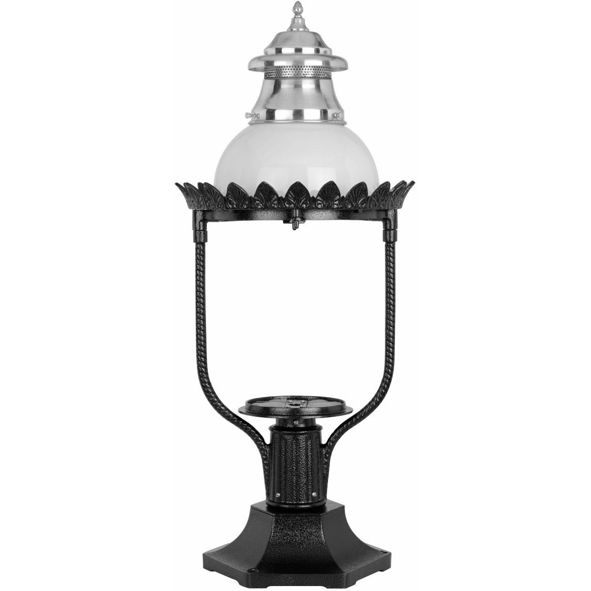 American Gas Lamp Works Gl48 Cast Aluminum Manual Ignition Natural Gas Light With Open Flame Burner And Pedestal Mount
