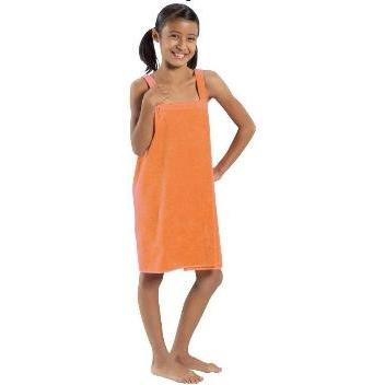 Terry Town Girls Terry Velour Body Wrap Towel Medium - Orange
