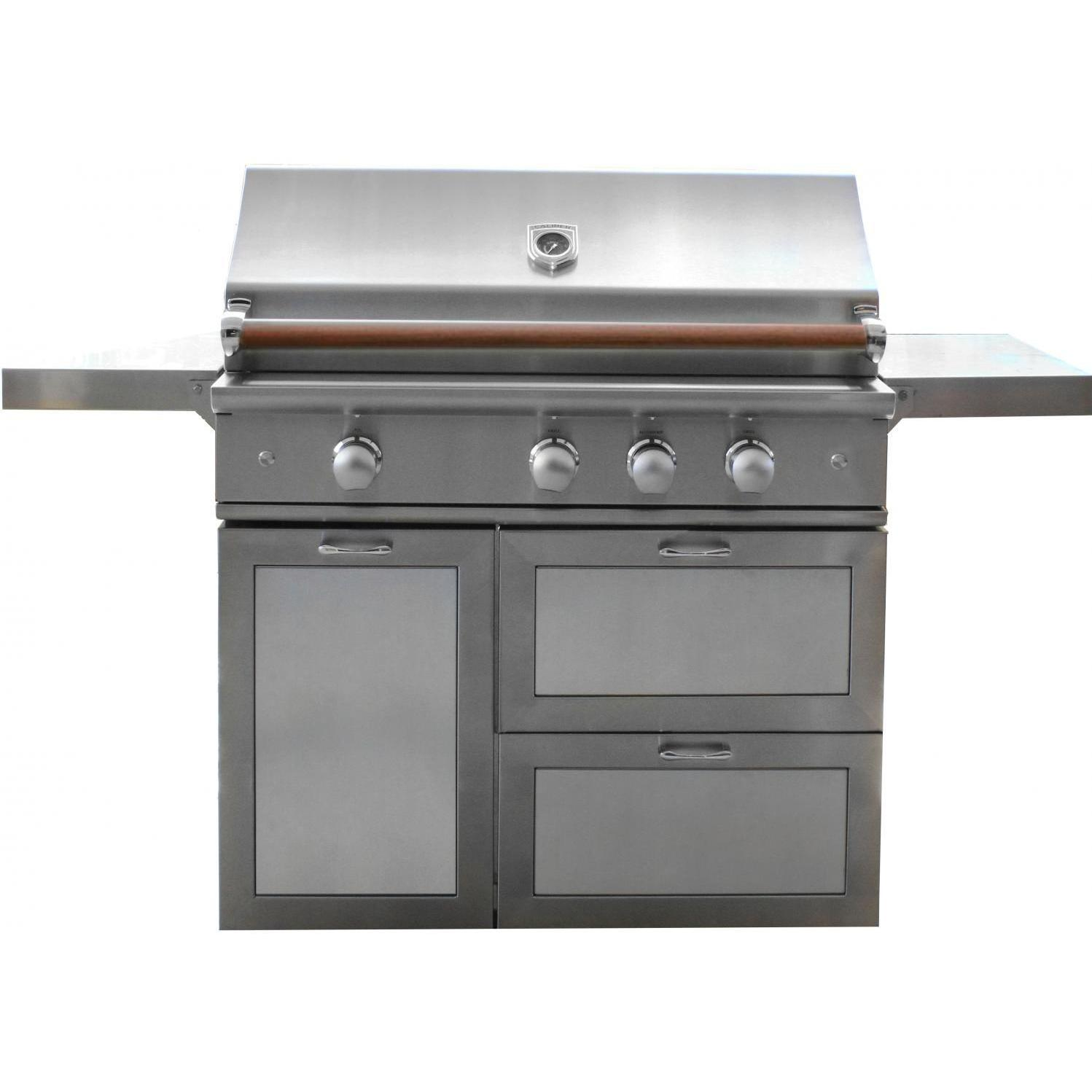 Caliber CrossFlame Pro 42-Inch Propane Gas Grill On Cart With Sear Burner And Rotisserie – Wood Handle