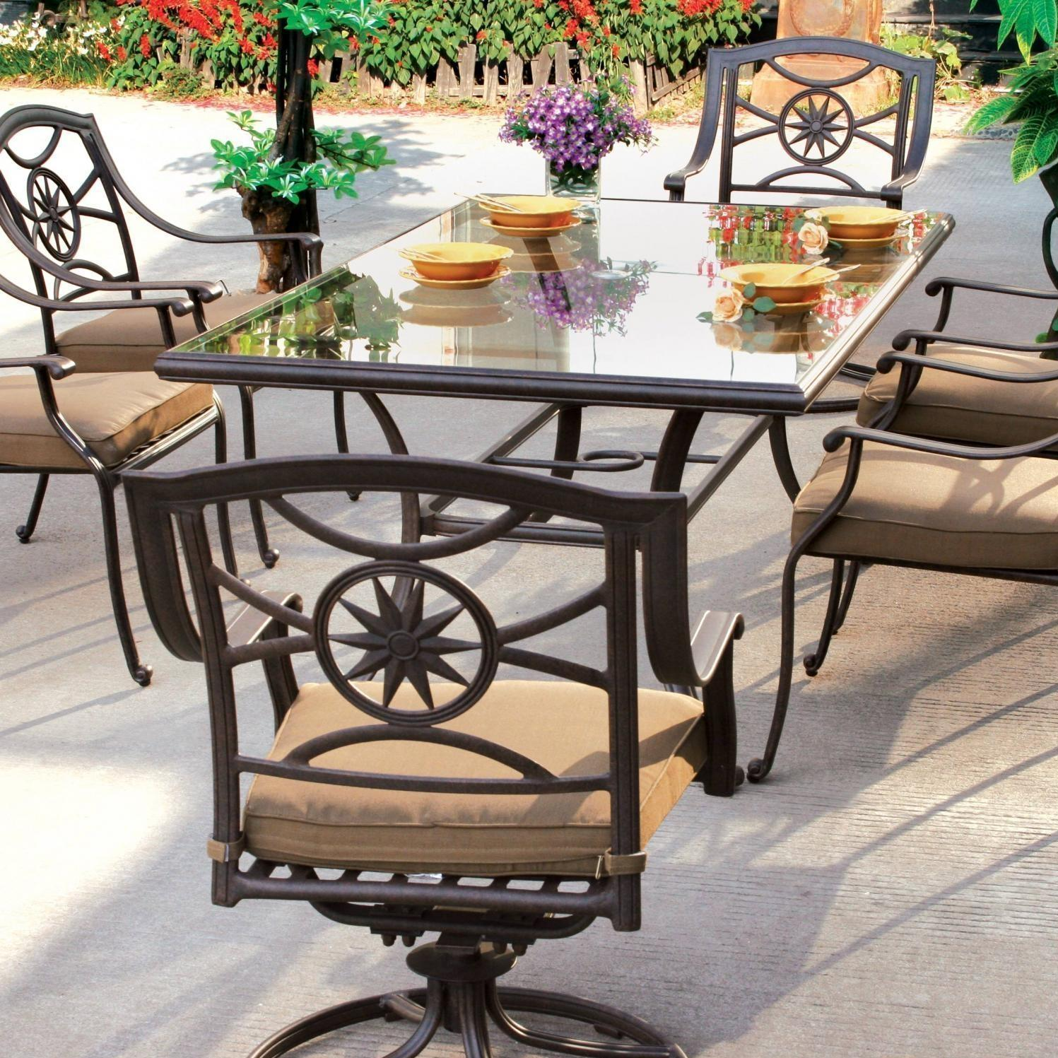 Darlee Ten Star Cast Aluminum Patio Dining Set With Glass Top Table - Seats 6 at Sears.com