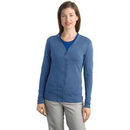 Port Authority Ladies Modern Stretch Cotton Cardigan 3XL - Moonlight Blue