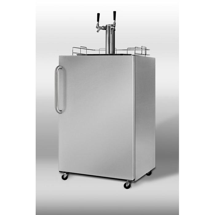 Summit SBC490OSTWIN 5.3 Cu. Ft. Capacity Outdoor Dual Tap Beer Dispenser - Stainless Steel