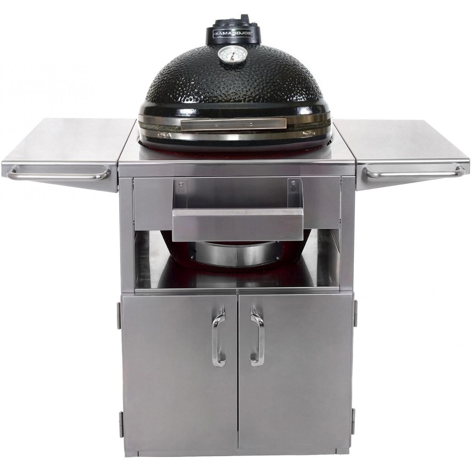 Kamado Joe ClassicJoe Ceramic Grill With Stainless Bands On Stainless Steel Cart - Black, Discount ID KJ23NBS KJ-SST