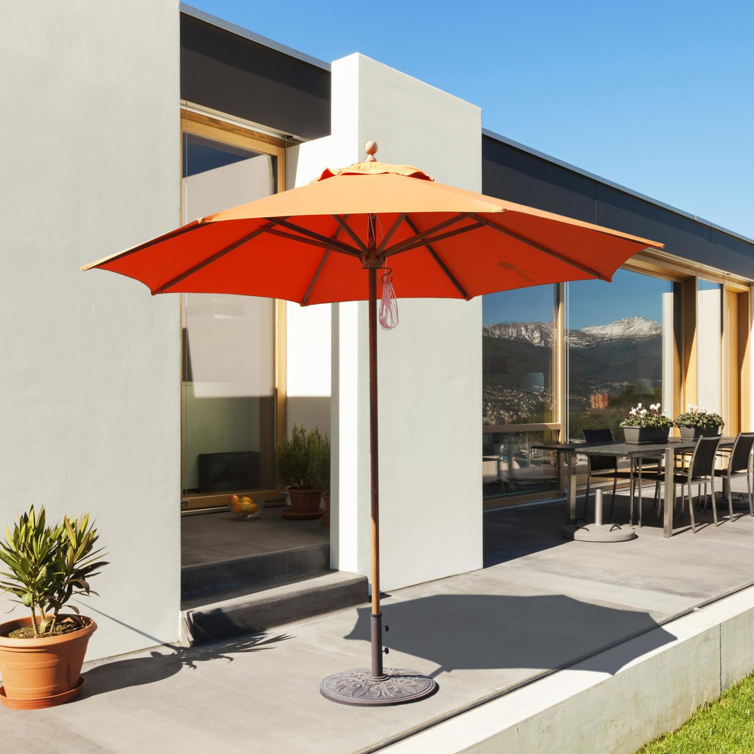 Galtech 9 Ft Teak Patio Umbrella With Pulley Lift 2505589