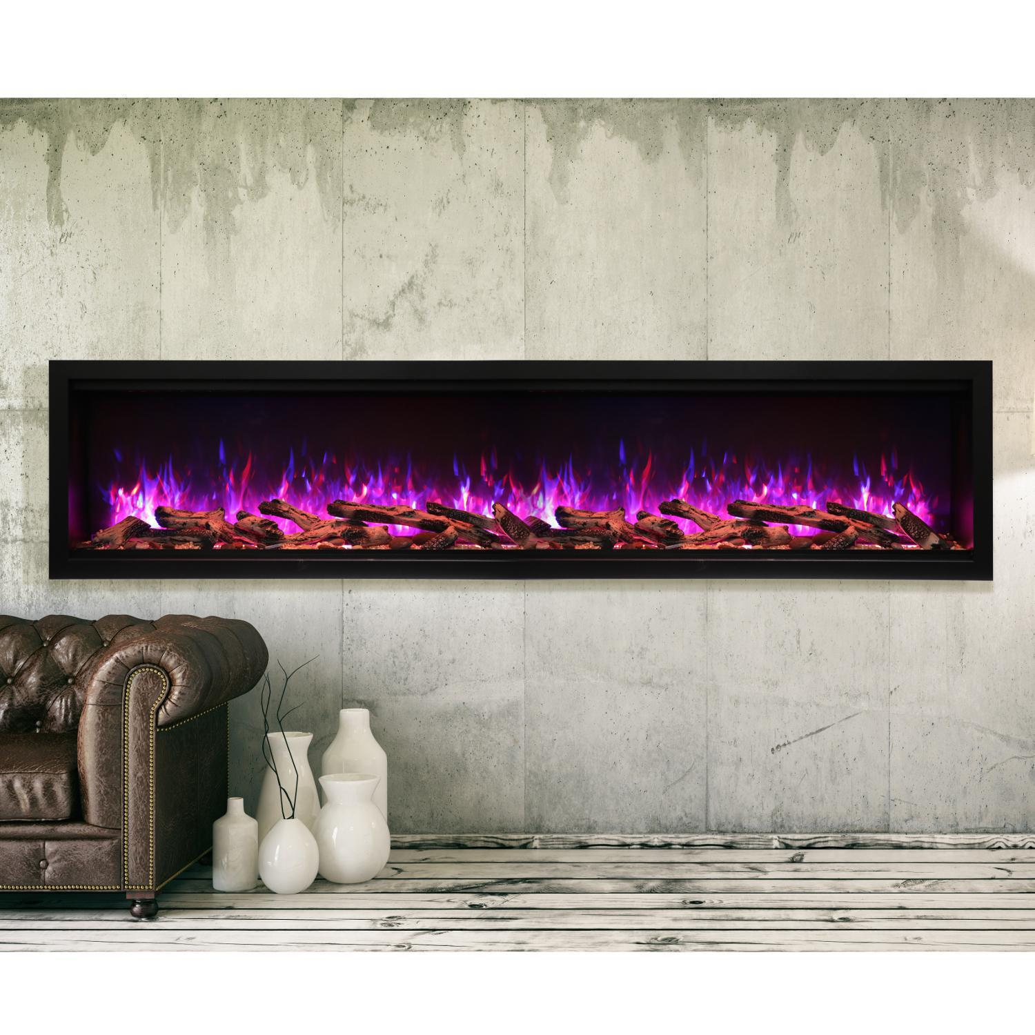 """Amantii Symmetry Series Extra Tall 88"""" Built-in Electric Fireplace With Black Steel Surround - Rustic Logs - Indoor/outdoor - Sym-88-xt"""