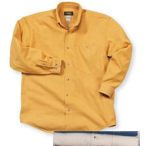 Cobra Caps Long Sleeve Premium Heavyweight Washed Denim Shirt Large - Stone