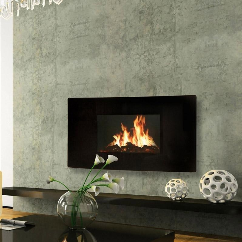 Celsi GL2029USC Curved Electric Wall Mount Fireplace With Heater