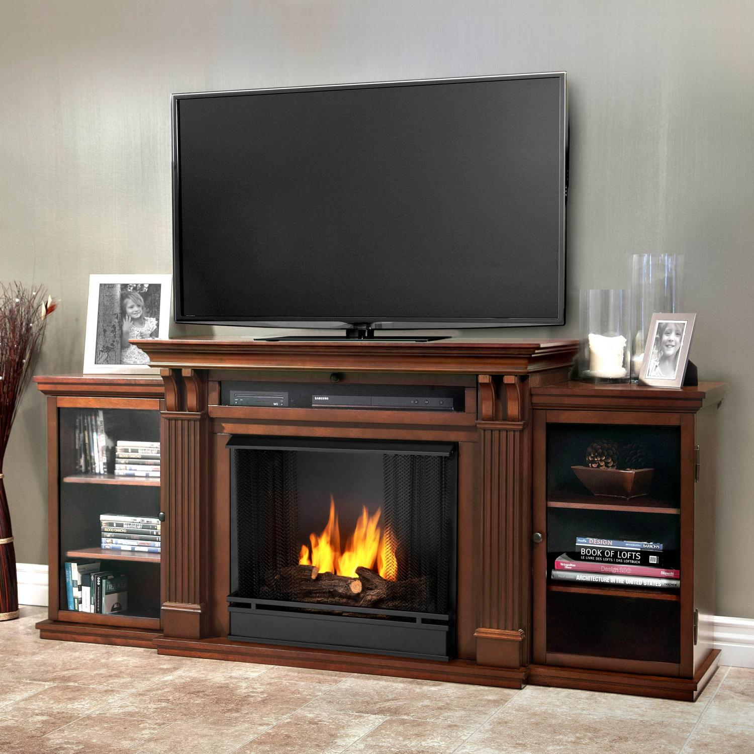 Real Flame Ashley 67-Inch Gel Fireplace Media Console - Dark Espresso