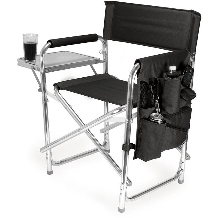 Picnic Time Portable Folding Sports Chair With Side Table - Black at Sears.com