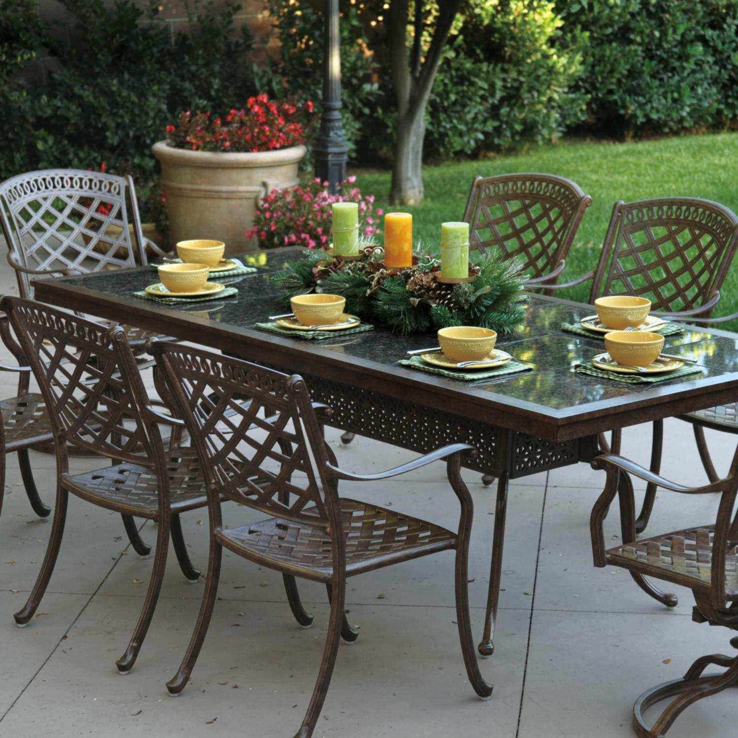 Darlee Sedona 8-person Cast Aluminum Patio Dining Set With Granite Top Table - Mocha / Brown Granite Tile at Sears.com