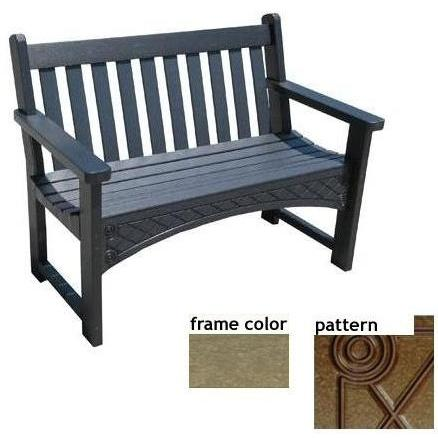 Eagle One Recycled Plastic 4 Foot Heritage Bench Diamond Pattern - Driftwood