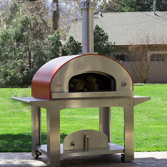 """Bella Outdoor Living Bella Ultra 40"""" Outdoor Wood-fired Pizza Oven On Cart - Red - Beus40r"""
